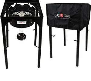 GasOne B-3600H Propane Cover 200,000-BTU Brewing Burner with Adjus, Black