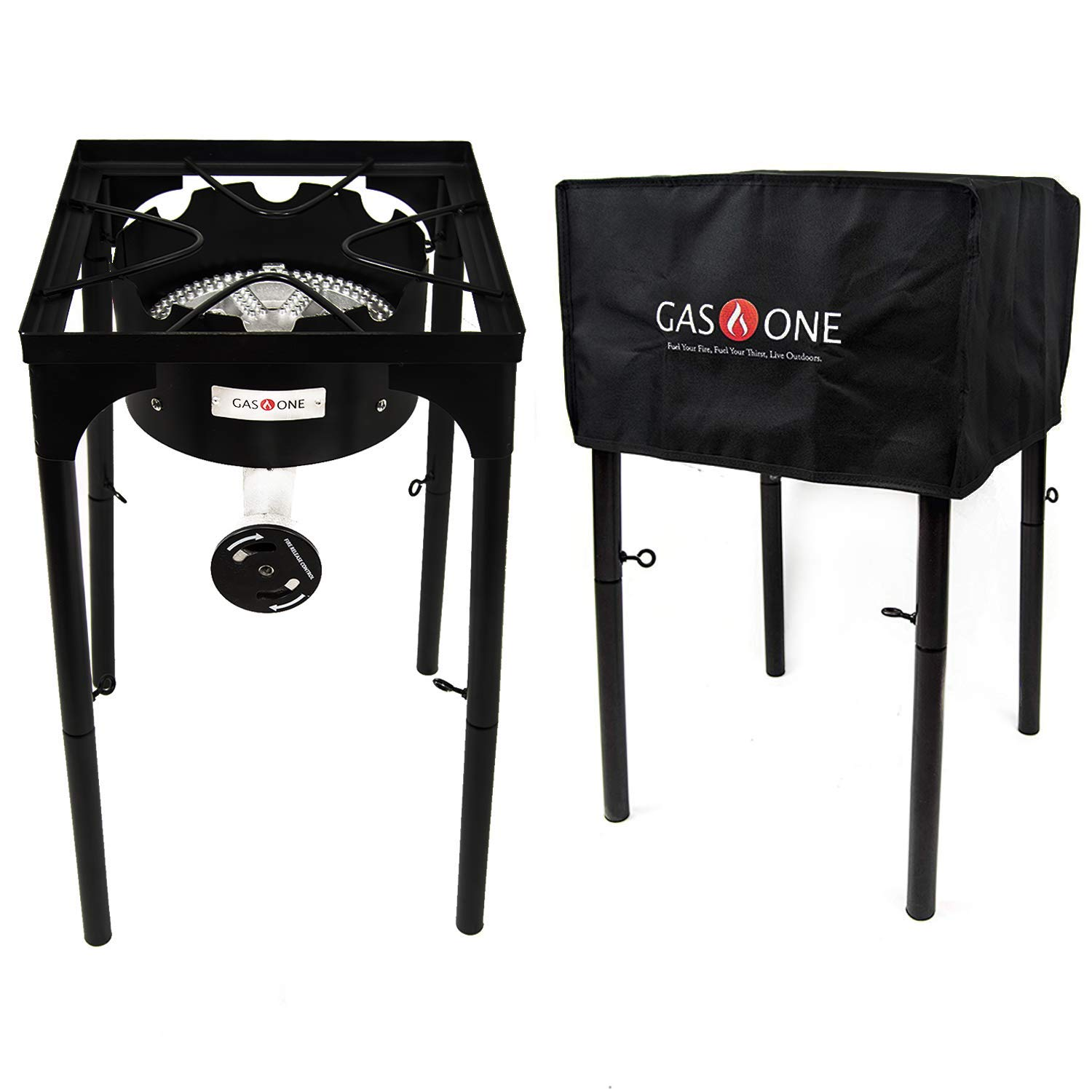 Gas One Propane Burner With Cover 200,000-BTU Brewing Burner with Adjustable Height CSA Listed 0-20PSI High Pressure Camp Stove