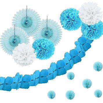 Decoration bapteme garcon chambre deco bleu diy pour bebe rosace boule pompon de soie trèfle papier