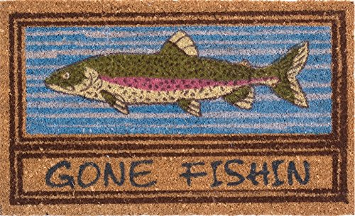 "Coco Mats N More Gone Fishin Vinyl Backed Coir Entrance Mat / Doormats- 18"" X 30"""