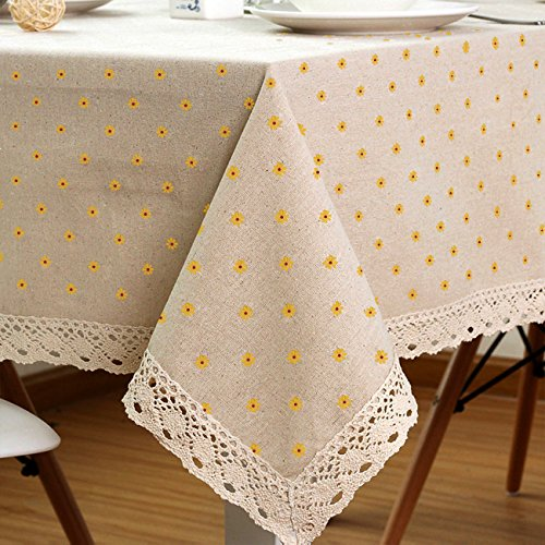LINENLUX Cotton Linen Tablecloth Macrame Rectangle Table Covers for Dinner Parties Holidays Yellow 23 x 23 in