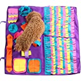 Pet Snuffle Mat Dog Foraging Mat Non-slip Dog Sniffing Mat Feeding Mats Training Mats Pet Training Feeding Stress Release Pad Nosework Blanket Washable Soft Interactive Puzzle Toy for Dog Cat 90cm