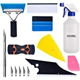 Car Window Tint Application Tools Kit, Luxiv 9 Pcs Vehicle Glass Protective Film Installing Tool Car Window Film Squeegee Automotive Film Scrapers Window Tint Tools (B)
