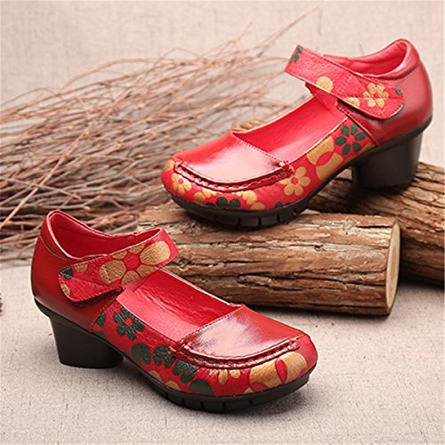 Classiques Ville Escarpins Eté Mary Mocassins Style Talons Fleurs Jane avec en Rouge Moyens Femme Chaussures de Socofy à 2 Confortable Rouges Noirs Motifs Printemps Cuir HawqIn7n