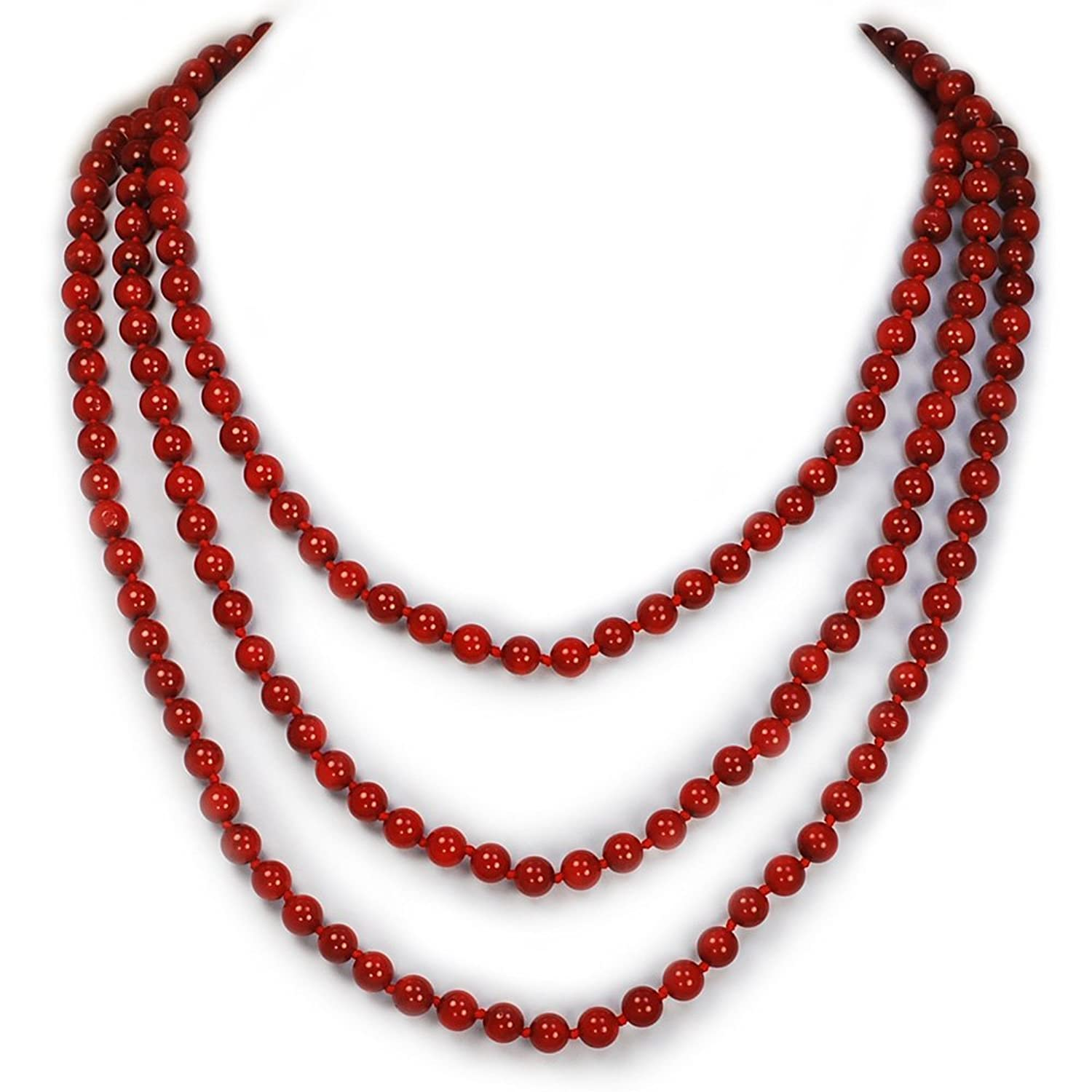"002 Ny6design Elegant and classy Jewelry Red Coral Hand-Knotted Strand Long Necklace 60"" N16040505c"