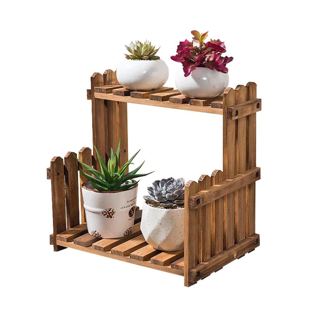 Supporto regolabile per fiori in legno massello a 2 piani Recinzione Soggiorno per balconi Ripiano in vaso a più livelli Ripiano per piante grasse Semplice Vintage Indoor