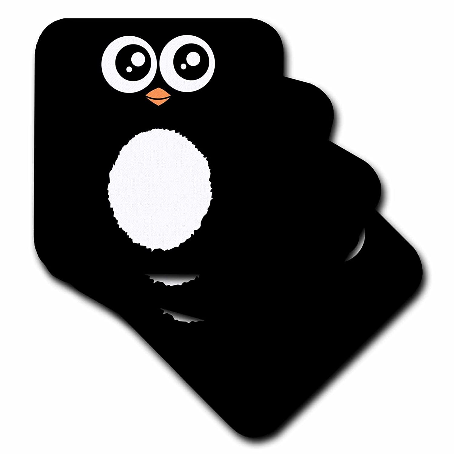 3dRose cst_113061_2 Cute Black Penguin Cartoon-Kawaii Sweet Animal Square-Adorable for Kids and Children-Penguins-Soft Coasters, Set of 8