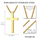 Reve Simple Polished Finish Stainless Steel Cross
