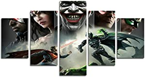 xin da fen 5 Piece Unfair Superman vs Batman painting for living room home decor canvas art wall poster (No Frame) Unframed LXQ68 size: 50inch x30inch