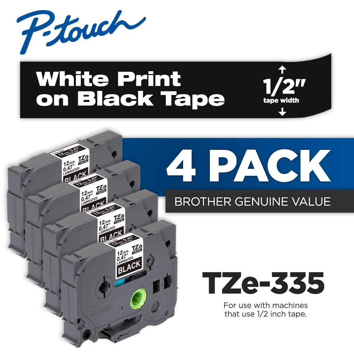Brother Genuine P-Touch 4-Pack TZe-335 Laminated Tape, White Print on Black Standard Adhesive Laminated Tape for P-Touch Label Makers, Each Roll is 0.47''/12mm (~ 1/2'') Wide, 26.2 ft. (8M) Long