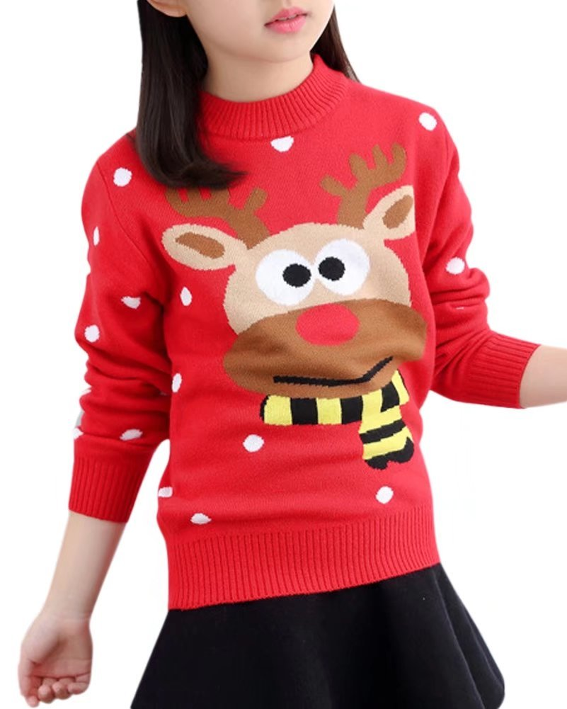 Kids Long Sleeves Fashion Reindeer Christmas Knitted Jumper Sweater Pullover for Little Girls & Big Girls, Red 7-8 Years = Tag 140