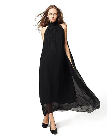 Neckholder kleid lang schwarz