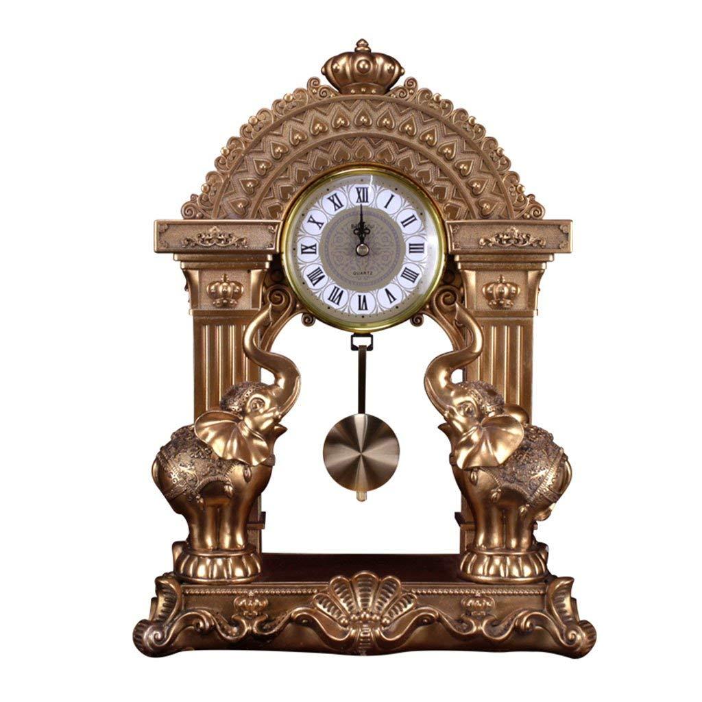 デスククロックファミリークロックヨーロッパ時計時計樹脂デスクリビングルームデコレーションクロックリビングルームの寝室に適していますオフィス(色:Crown jixiang) B07THHB75T Crown Jixiang