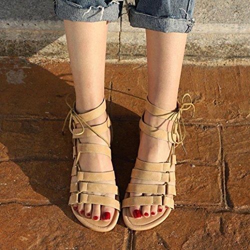 HLHN Women Sandals,Bohemia Roman Gladiator Ankle Cross Strap Flat Heel Open-Toe Shoes Casual Vintage Beach Lady Beige