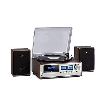 auna Oxford Equipo estéreo Retro - Sintonizador de Radio Dab+/FM , 2 Altavoces de 20 W , Bluetooth , Tocadiscos , Tracción por Correa con 33/45/78 RPM ...