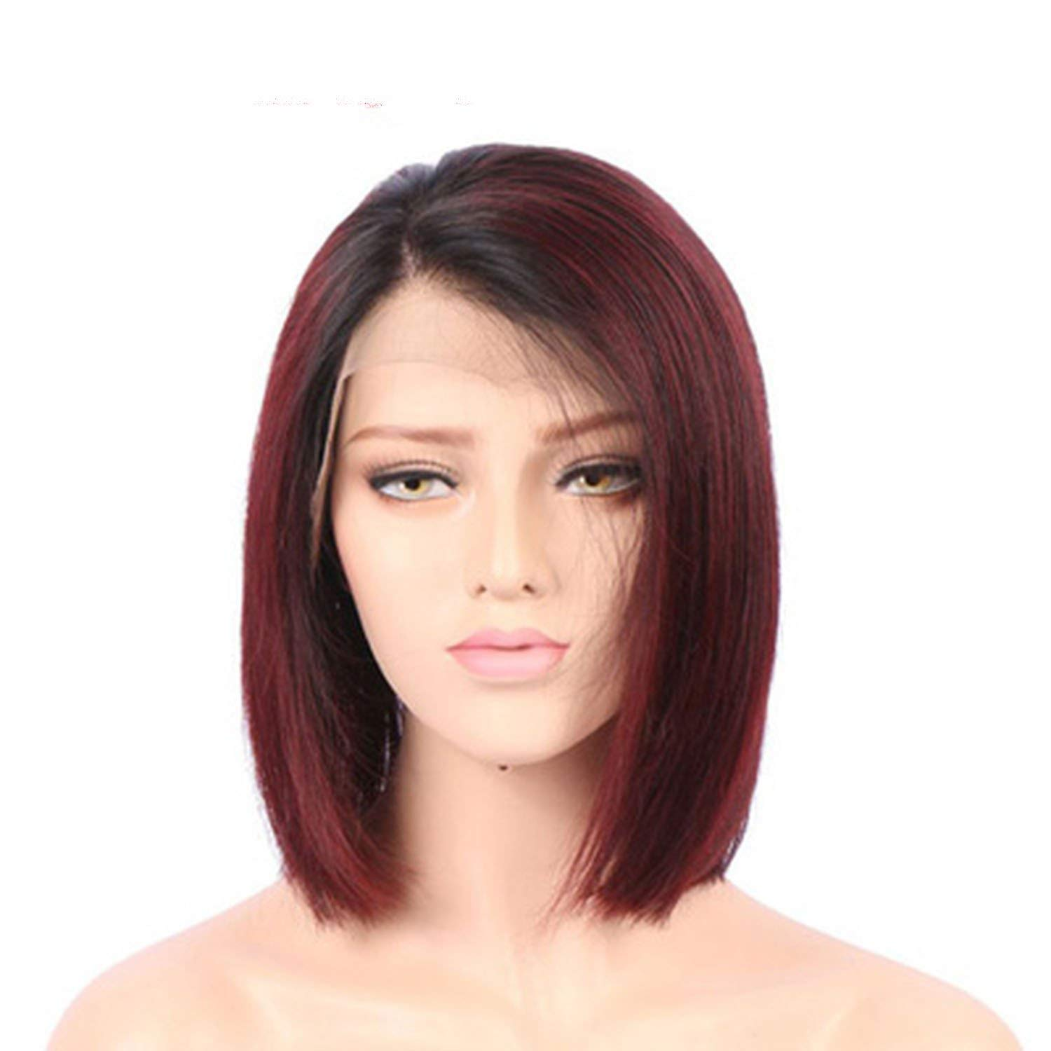 B07SQLVD8W Lace Front Short Human Hair Wigs For Black Women Straight Lace Front Wig Ombre Bob Lace Wig Remy Wigs 150%,#99J,10inches 61EGJia2FHL._SL1500_