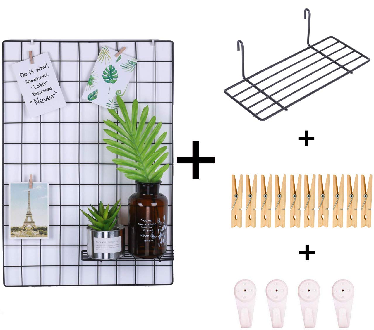 Tiny Smiles Black Wall Grid Panel | Bonus One Shelf, Clips and Nails | 17.7''x 25.6'' | Photo Hanging Display & Wall Decoration Organizer, Multi-Functional Wall Storage Display Grid