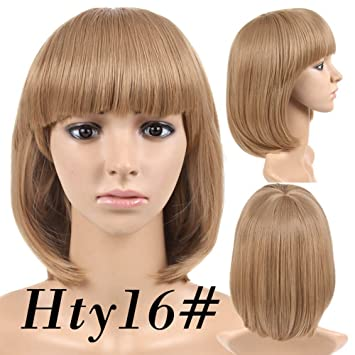 Cheap Short Bob Wig Light Brown Color hty16# With Bangs for Women Full Head Colorful