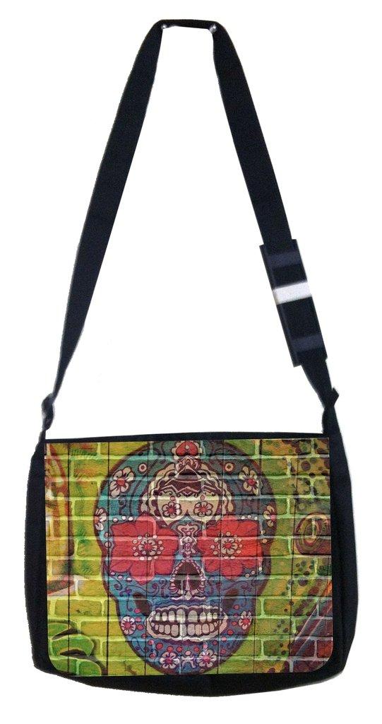 Skull wall art Rosie Parker Inc TM Medium Sized Messenger Bag 11.75 x 15.5 and 4.5 x 8.5 Pencil Case SET