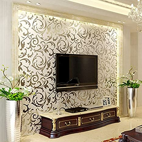 Luxury European Style Stereo Gold Foil Wallpaper On The Wall Of Living Room