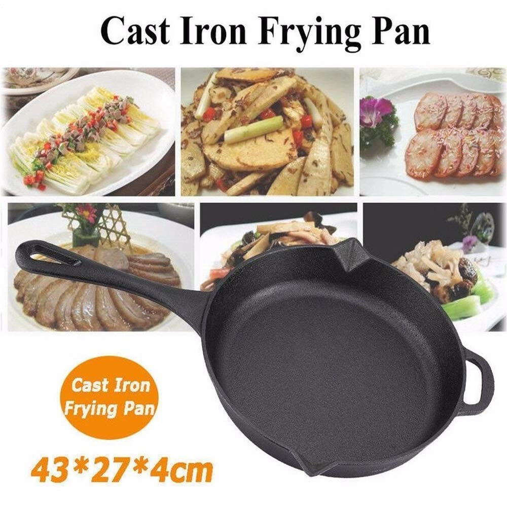 1PC Black Cast Iron Frying Pan Skillet Kitchen Utensil Cookware For Gas Stove/Induction Cooker