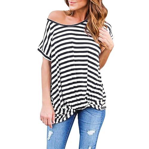 Winwintom La mujer casual tops de la camiseta de rayas de manga corta camisa de verano Blusa