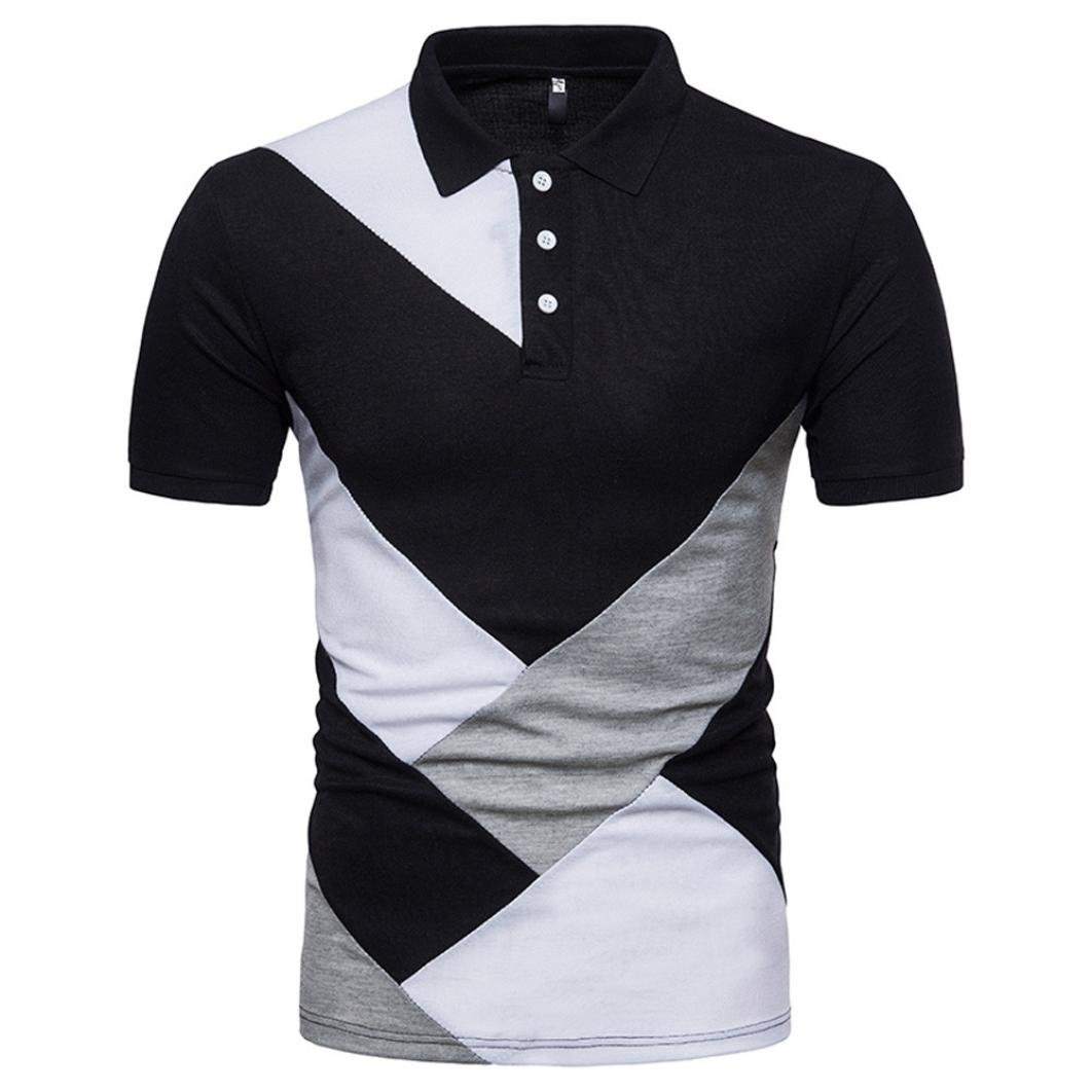 63d0fe642b69bb ☆Polo Man! Casual Slim Top Blouse Patchwork Short Sleeve T Shirt SPE969  ☆Everything I do now