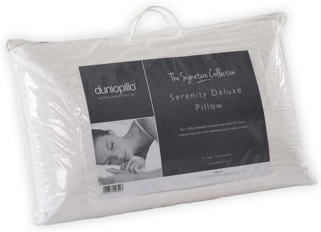 Dunlopillo Serenity Deluxe Full Latex Slim Pillow, Rubber, White
