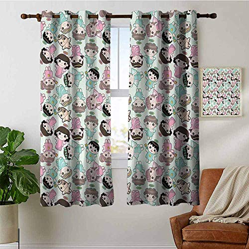 petpany Bedroom Curtains 2 Panel Sets Angel,Kids and Cats with Wings Childish Heavenly Fantasy Babies Cartton,Sea Green Dried Rose Brown,Complete Darkness, Noise Reducing Curtain 52