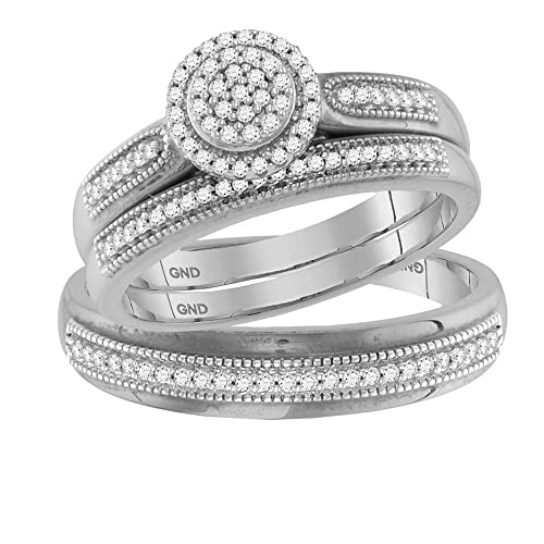 Juego de anillos de boda de oro blanco de 10 quilates para novia y novia,