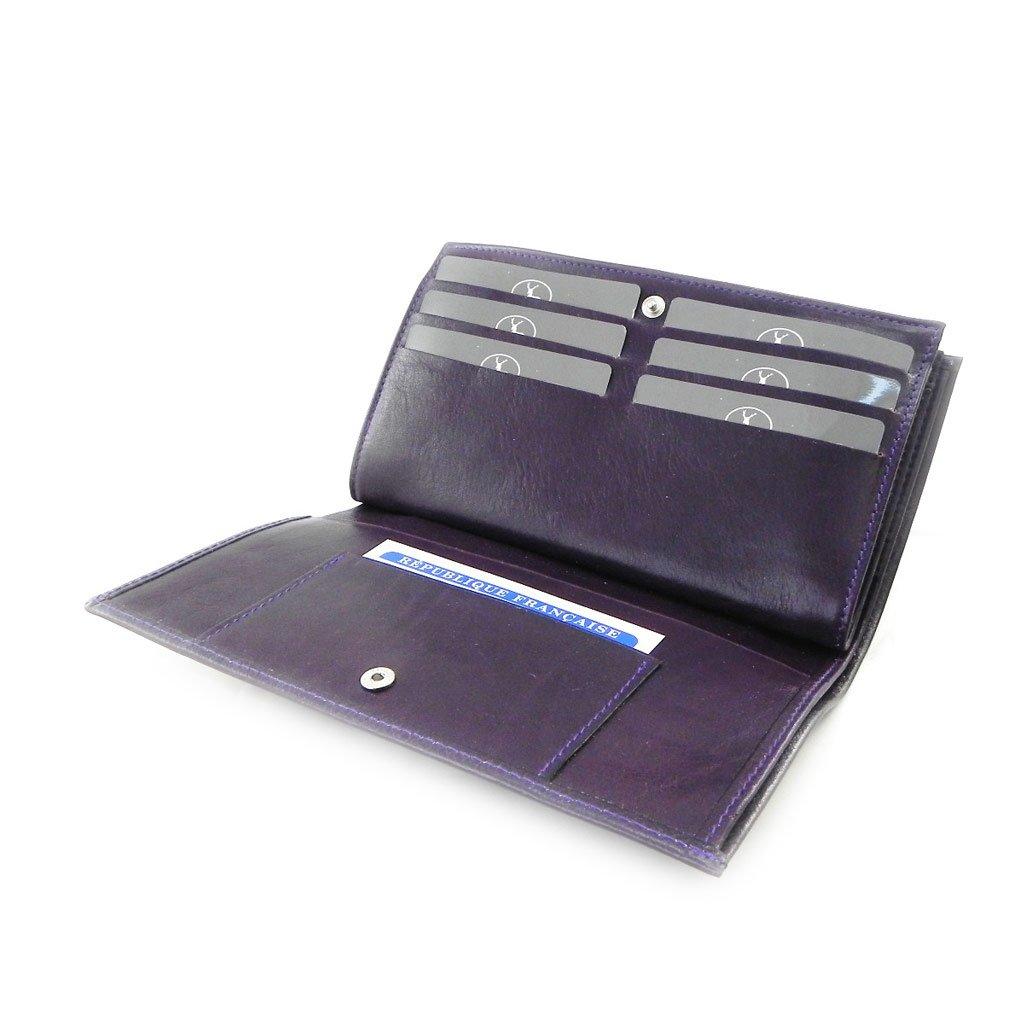 checkbook holder leather Frandi york purple green. Wallet