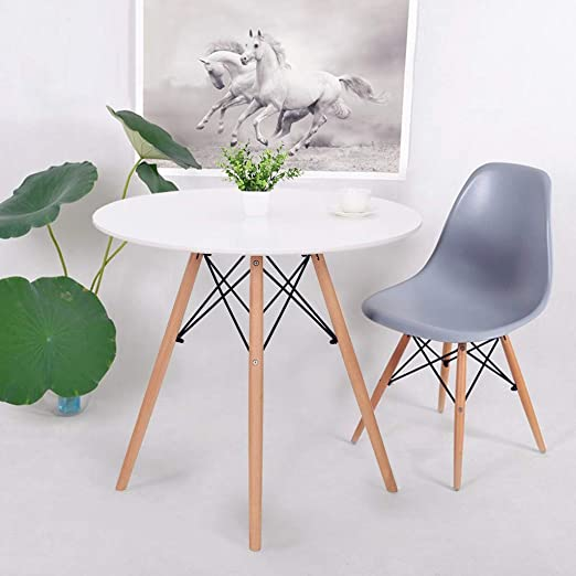 Ipotius Modern Glass Round Dining Table 80cm Kitchen Table For Small Spaces With Wood Legs 80x75cm Amazon Co Uk Kitchen Home