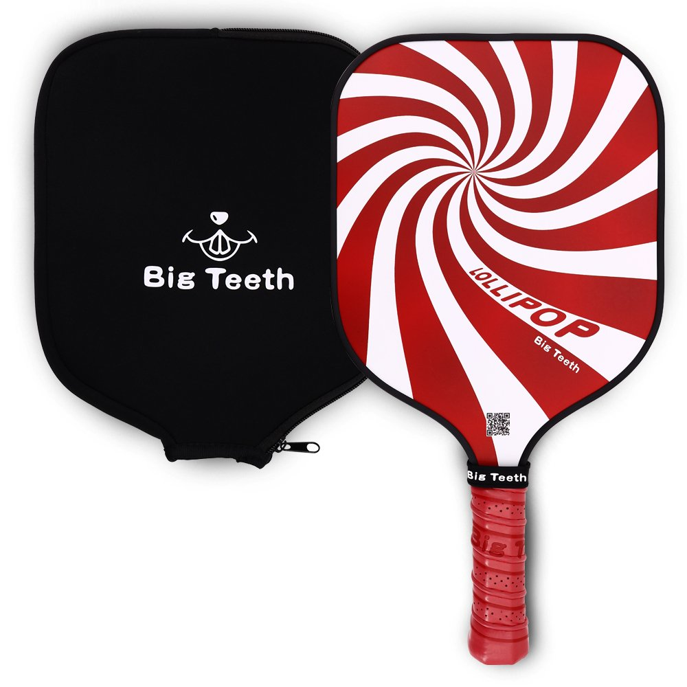 Big Teeth Light Weights Graphite Pickle Ball Paddle Pickleball Racket, Paper Honeycomb Composite Core,Neoprene Racket Cover,Lollis Candy Color
