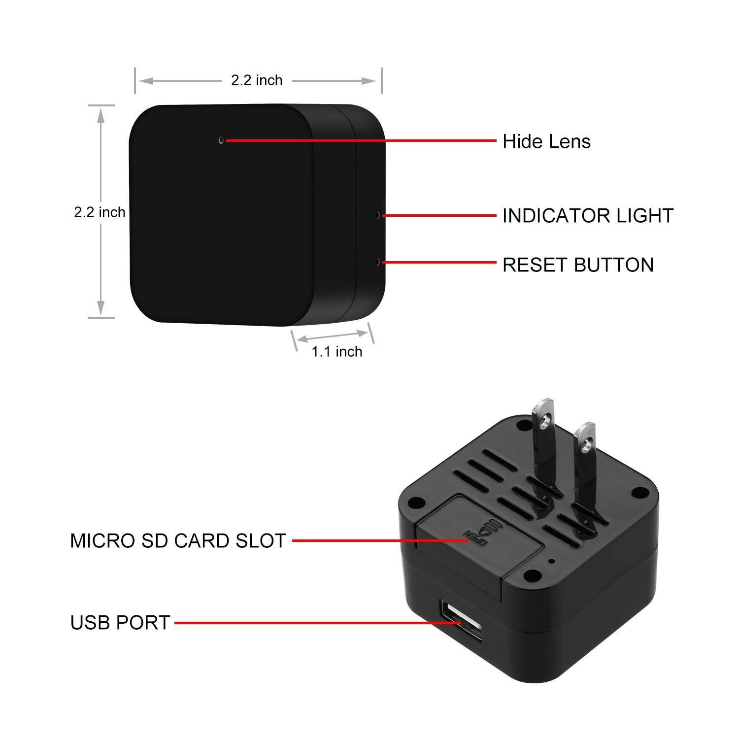 Mini Wireless IP Camera -Hidden Camera -HD 1080P-Wifi Spy Camera With Remote View App- Wall Charger Plug Motion Detection Cam For Home Security Surveillance by Bescar (Image #3)