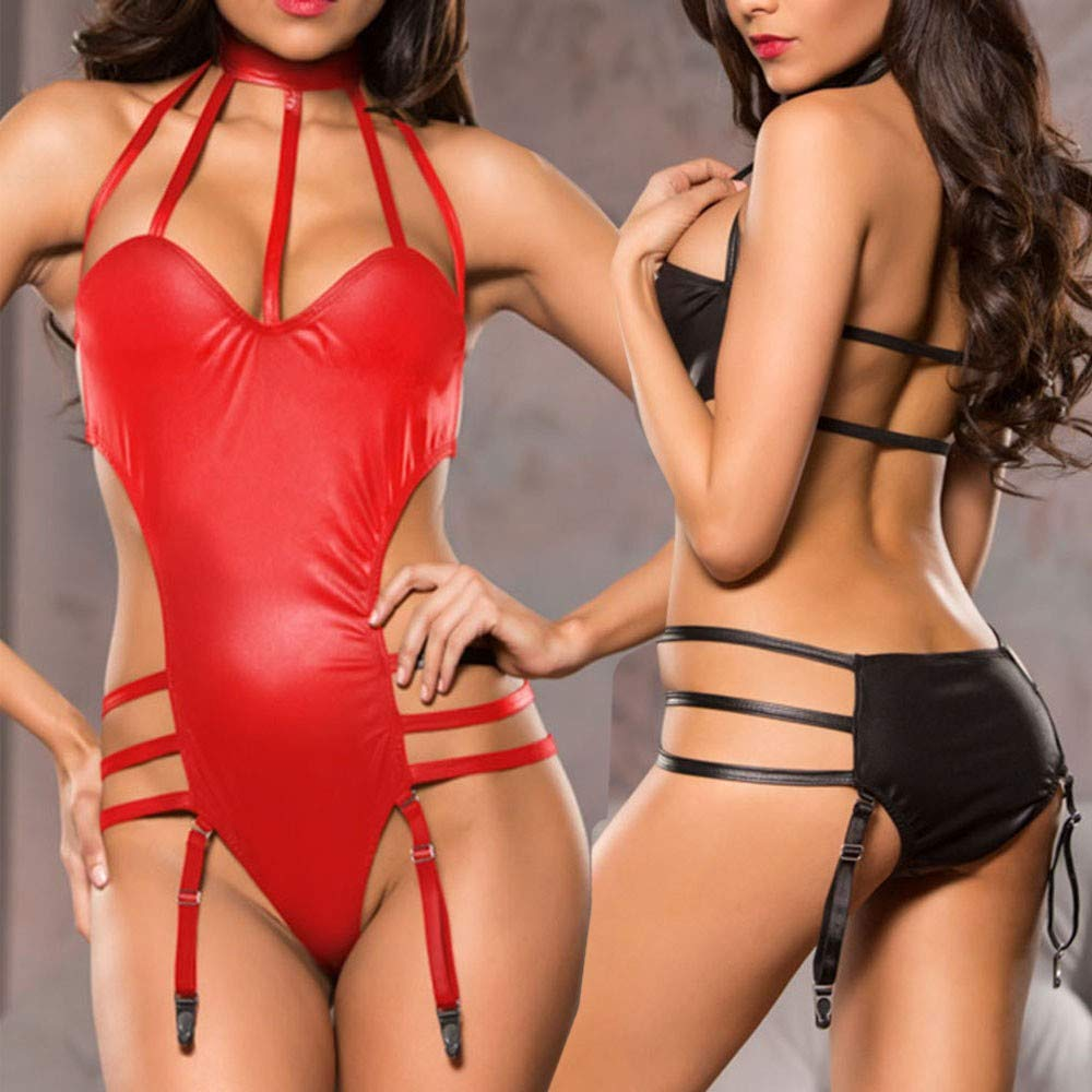 adf98a8d63d Amazon.com  Teddy Bandage Lingerie for Women Fashion Sexy Leather Bodysuit  Jumpsuit Party Clubwear with Garter  Clothing