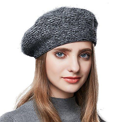 ENJOYFUR Winter Hats Women,Berets Women,Knit Beret Hats Zebra Print Lightweight Soft Wool Berets Women