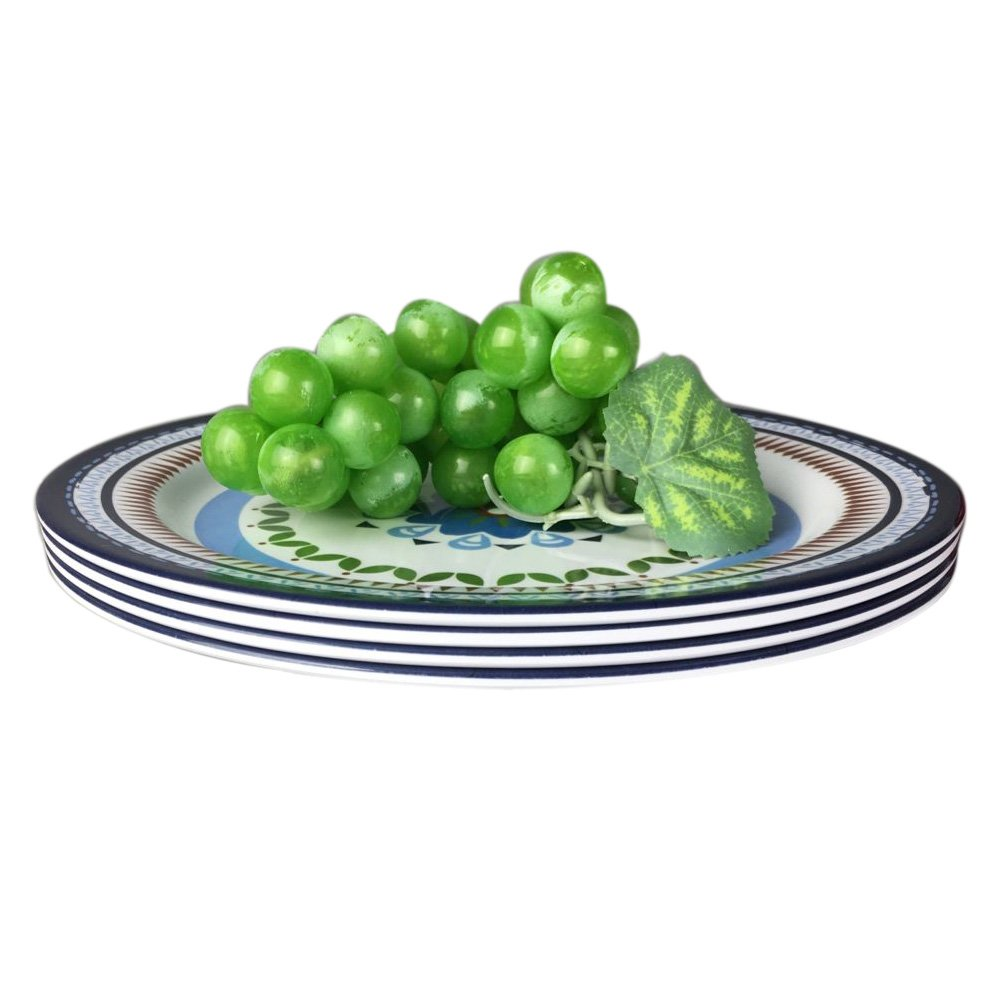 12 Pcs Melamine Dinnerware Set - Rustic Plates and bowls Set for Camping, Service for 4, Dishwasher Safe by Hware (Image #7)