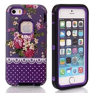 4s Case, Case For Iphone 4s Cover Case, New, Magicsky Case For Iphone 4s Cover Cover with Purple Rose Flower Pattern Full Body Hybrid Impact Shockproof Defender Case For Iphone 4s Cover, 1 Pack(Purple Flower/Purple