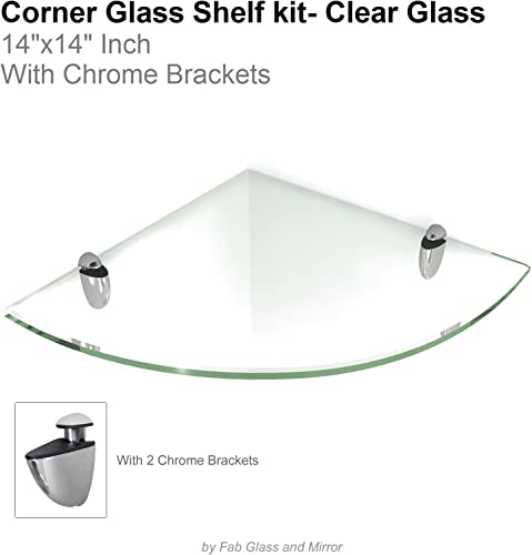 Fab Glass and Mirror Floating Glass Shelf Corner with Chrome Brackets, 14 L x 14 W, Clear Glass