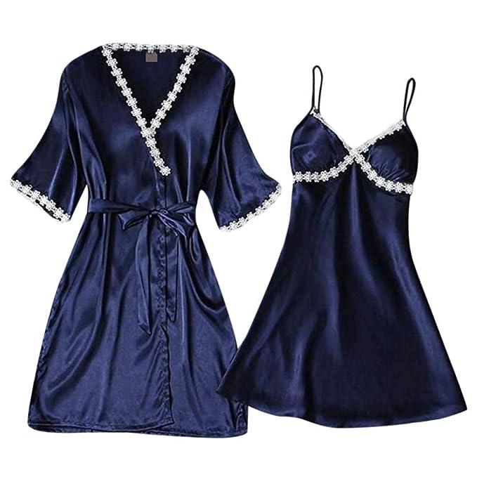 POQOQ Lingerie 2pcs Women Sexy Satin Sleepwear Babydoll ...