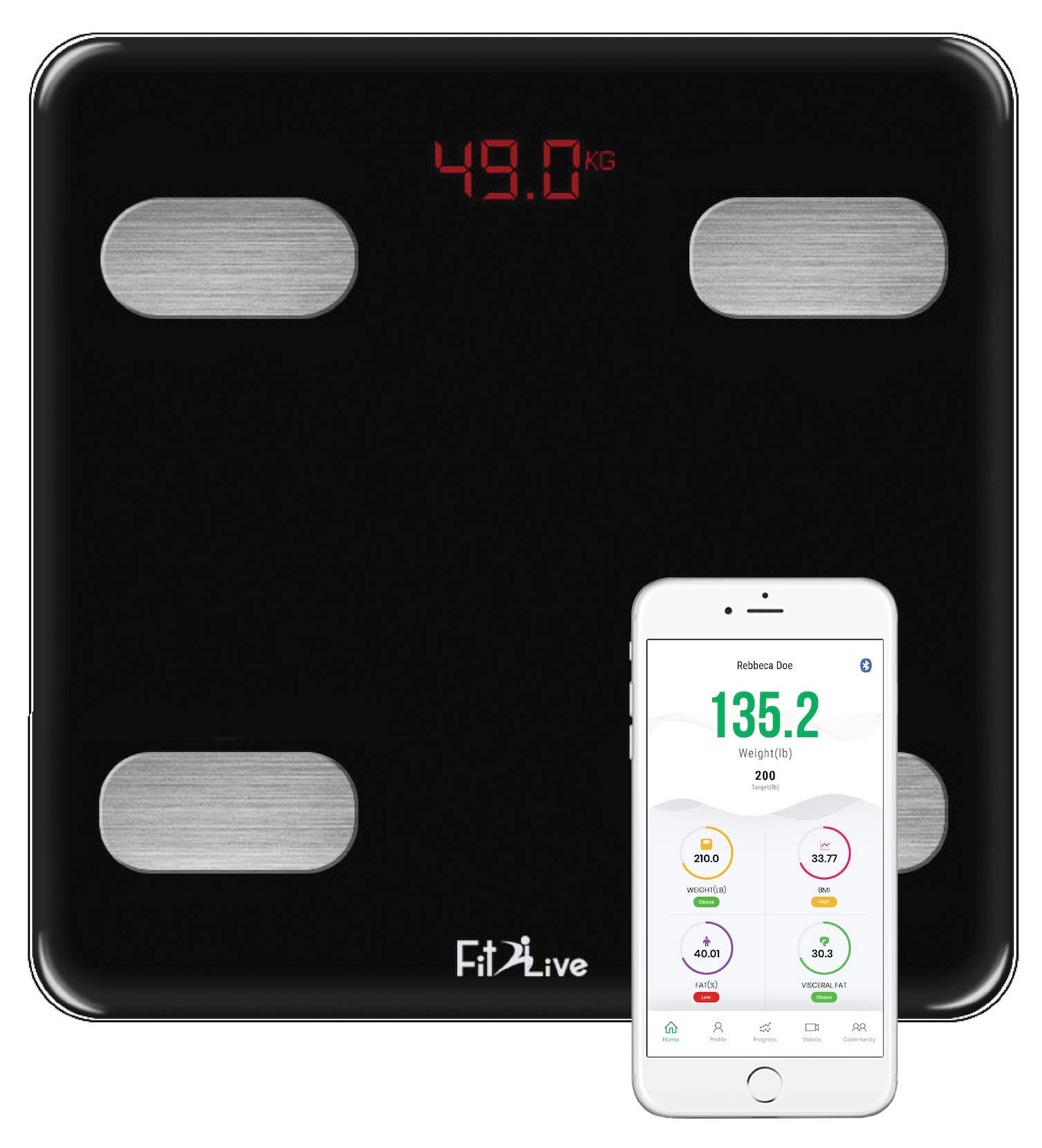 Bluetooth Smart Body Fat Scale-Fit2Live Digital Bathroom Weight Scale, Body Composition Analyzer, USB Rechargeable, with iOS and Android App for Body Weight, Fat, Water, BMI, BMR, Muscle Mass (Black)