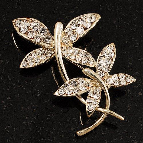 Délicate Broche Papillon Cristal (Plaqué Or)