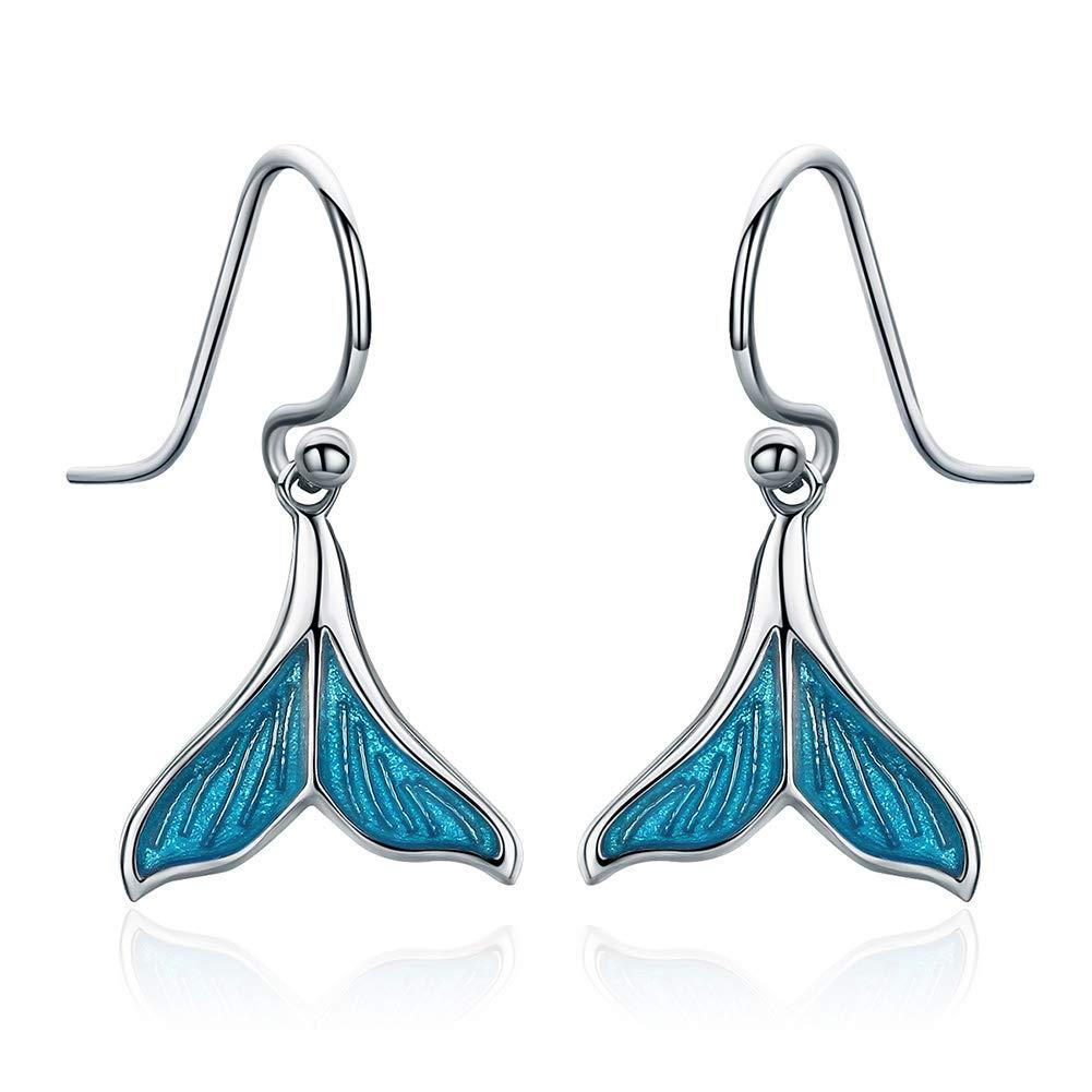 HSUMING Mermaid Tail Earrings for Girls,925 Sterling Silver Mermaid Princess Enameled Dangle Earrings Jewelry for Women Girls Valentines Day