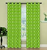 2 Piece Set LUXY Window Panels Embroidered Grommet Top Decorative Curtains, 54″x84″ & 54″x95″ (54″x95″, Green)