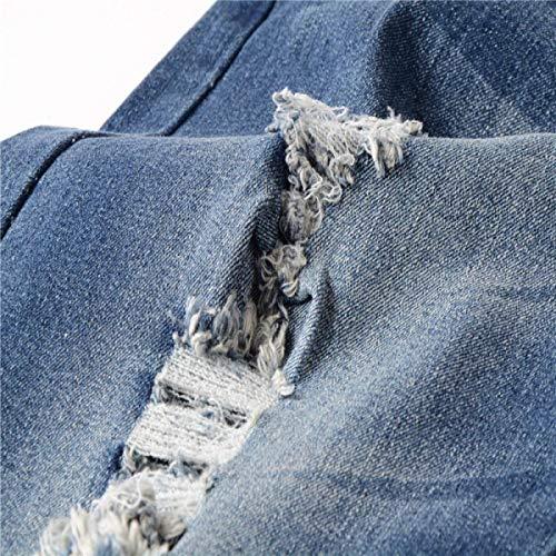 Strappati Medio Jeans Comodo Dritti Pantaloni Fit Slim Uomo A Vita Blu Da Distrutti Battercake nUzx8RwqH8