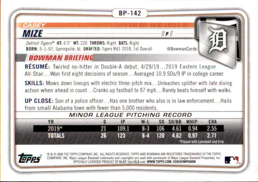 2020 Bowman Prospects #BP-142 Casey Mize Detroit Tigers RC Rookie MLB Baseball Trading Card