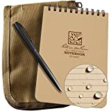 Rite in the Rain Weatherproof 4'' x 6'' Top-Spiral Notebook Kit: Tan CORDURA Fabric Cover, 4'' x 6'' Tan Notebook, and an Weatherproof Pen (No. 946T-KIT)