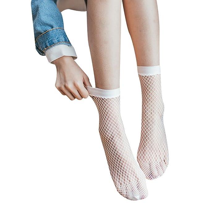 Chen Rui (TM) Calcetines Blancos de Tobillo de Rejilla de Mujer Calcetines Altos de Encaje de Señora de Malla: Amazon.es: Ropa y accesorios