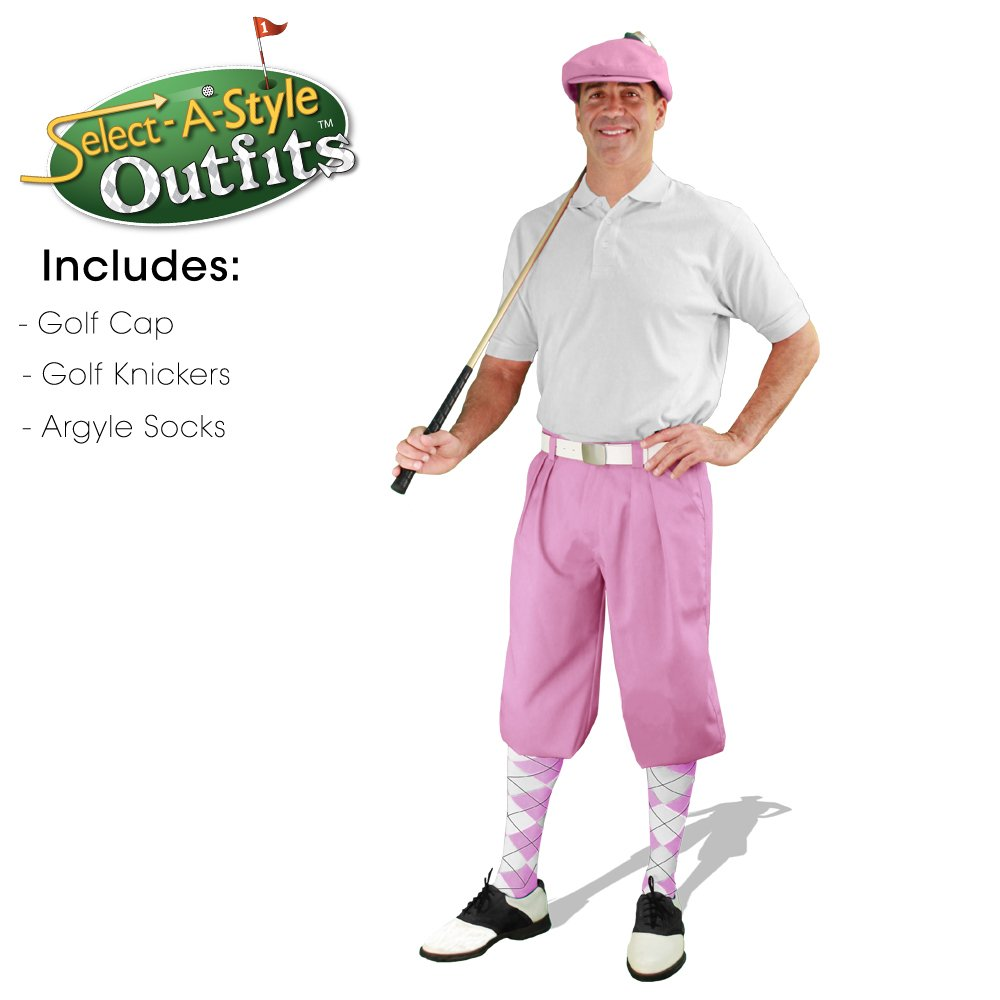 Golf Knickers Mens Select-A-Style Outfit - Pink - Waist 40 - Sock - PK/WH