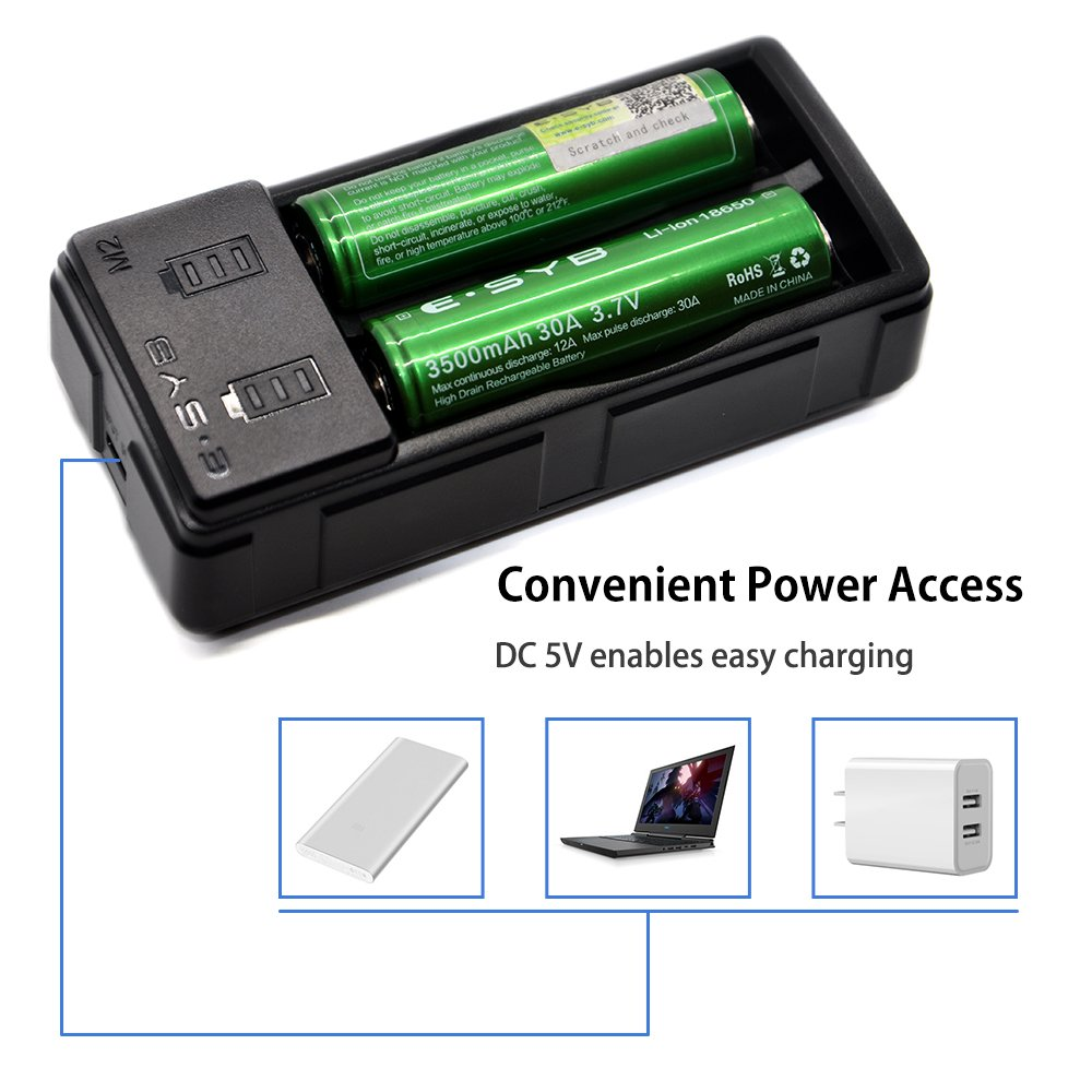 Amazon.com: Cargador de batería 18650, ESYB M2 2 Bay Speedy ...